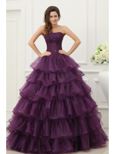 Strapless Beading and Ruffles Layered Quinceanera Dress in Dark Purple