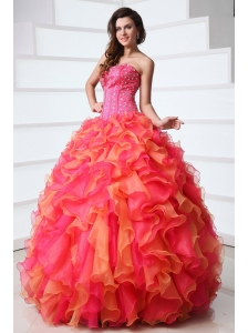 Strapless Beading and Ruffles Quinceanera Dress in Red and Orange Red