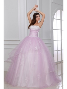 Strapless White and Baby Pink Quinceanera Dress with Appliques