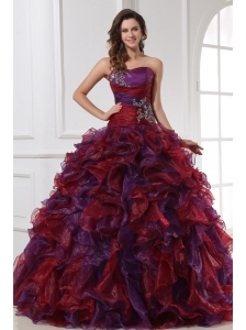 Sweetheart Appliques with Beading Organza Multi-color Quinceanera Dress
