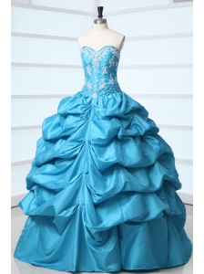 Teal Sweetheart Taffeta Quinceanera Dress with Appliques and Pick-ups