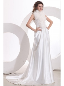 A-line High Neck Feather Court Train Taffeta Wedding Dress