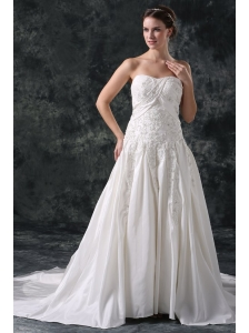 A-Line Strapless Beading Lace Up Taffeta Wedding Dress