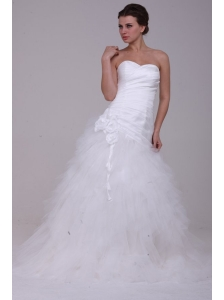 A-Line Strapless Ruching Tulle Wedding Dress with Brush Train