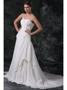 A-line Sweetheart Beading and Lace Chiffon Wedding Dress with Court Train