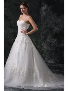 A-Line Sweetheart Court Train Appliques Lace Up Tulle Wedding Dress