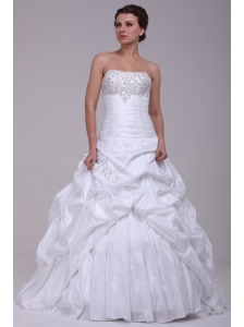 Ball Gown Court Train Beading Appliques Lace Up Taffeta Wedding Dress