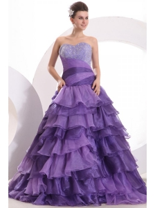 Beading and Ruffles Layered A-line Purple Organza Quinceanera Dress