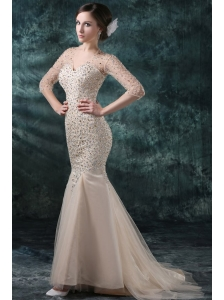 Champagne Mermaid Sweetheart V-neck Wedding Dress with Beading