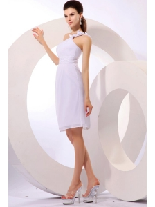 Column One Shoulder Ruching Chiffon Knee-length Wedding Dress