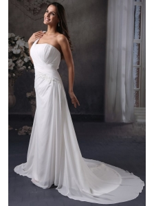 Column One Shoulder Ruching Court Train Chiffon Wedding Dress