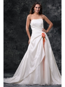 Column Strapless Ruching Court Train Taffeta Wedding Dress