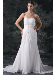 Elegant Column Sweetheart Lace Up Chiffon Wedding Dress with Beading