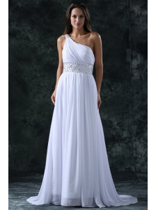 Empire Brush Train Beading Chiffon Zipper Up Wedding Dress