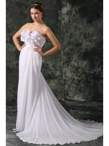 Empire Sweetheart Court Train Beading and Hand Made Flower Chiffon Wedding Dress