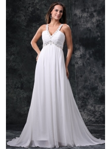 Empire V-Neck Beading and Ruching Zipper Up Chiffon Wedding Dress