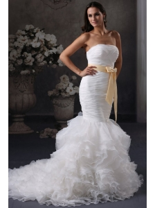 Luxurious Mermaid Strapless Ruching and Sash Court Train Organza Wedding Dress