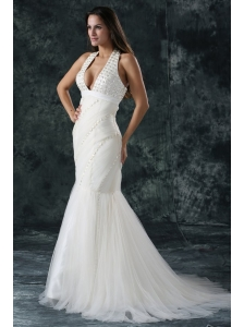 Mermaid  Halter Tulle Court Train Beading 2014 Spring Wedding Dress