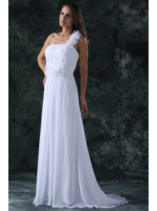 White Empire One Shoulder Ruching Brush Train Chiffon Wedding Dress