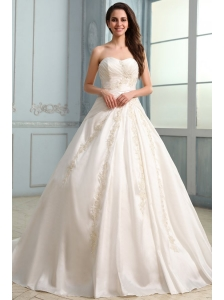A-Line Court Train Appliques Wedding Dress with Sweetheart