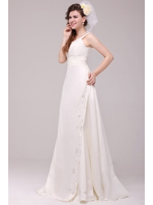 A-line Spaghetti Strap Embroidery Floor-length Wedding Dress