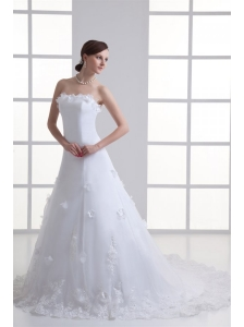 A-line Strapless Appliques Lace Court Train Wedding Dress