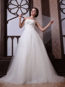 A-Line Strapless Beading Tulle and Organza Zipper Up Wedding Dress