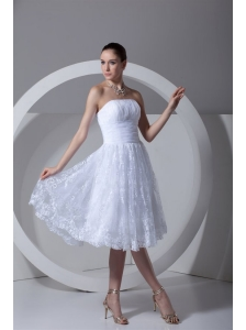 A-Line Strapless Tea-length Lace and Ruching Wedding Dress