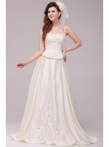 A-Line Straps Embroidery Taffeta Wedding Dress with Straps