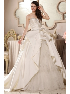 A-line Sweetheart Beading Bow Ruching Chapel Train Wedding Dress