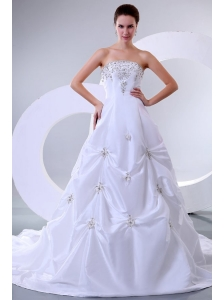 A-Line Sweetheart Court Train Beading Taffeta Wedding Dress with Lace Up