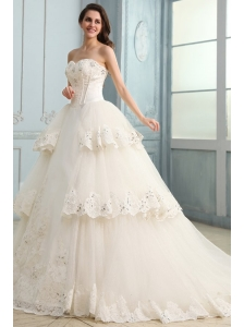 A-Line Sweetheart Taffeta and Tulle Appliques Lace Wedding Dress