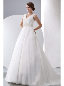 A-Line V-Neck Zipper Up Court Train Beading and Ruching Organza Wedding Dress