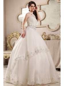 Ball Gown Halter Top Neck Embroidery and Beading Wedding Dress