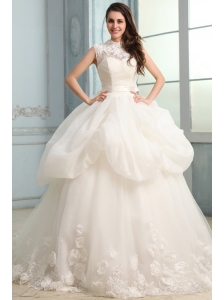 Ball Gown High Neck Beading and Flowers Wedding Dress with Organza
