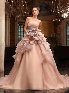Ball Gown Strapless Champagne Ruffles Organza Wedding Dress with Court Train