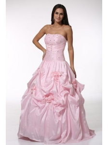 Beading and Hand Made Flowers Strapless Baby Pink Quinceanera Dress