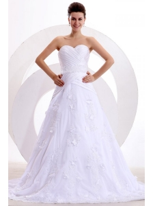 Brand New A-line Sweetheart Appliques and Ruche Wedding Dress