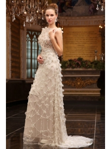Column Bateau Beading Brush Train Tulle Wedding Dress with Zipper Up