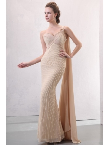 Column Champagne One Shoulder Watteau Train Beading Chiffon Wedding Dress