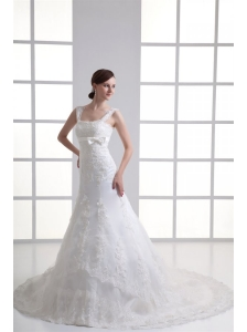 Column Straps Appliques Lace Wedding Dress with Chapel Train