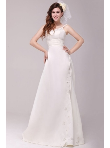 Column Straps Embroidery Taffeta Wedding Dress with Court Train