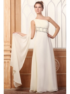 Empire One Shoulder Beading Watteau Train Chiffon Wedding Dress