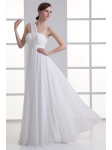 Empire One Shoulder Ruching Floor-length Chiffon Wedding Dress