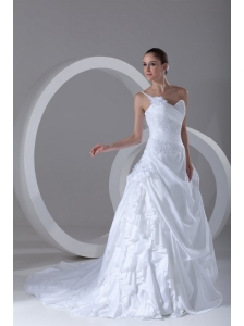 Exquisite Ball Gown One Shoulder Court Train Lace Taffeta Wedding Dress