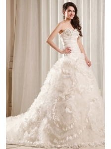 Fashionable A-Line Sweetheart Lace Up Taffeta and Tulle Wedding Dress with Court Train