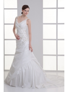 Luxurious Mermaid V-Neck Court Train Taffeta Embroidery Zipper Up Wedding Dress