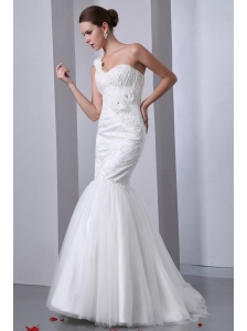 Mermaid One Shoulder Appliques Brush Train Lace Up Tulle Wedding Dress