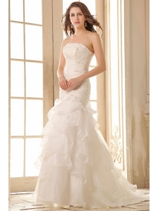 Mermaid Strapless Organza Beaded Decorate Brush Train Wedding Dress