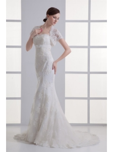 Mermaid Sweetheart Organza Brush Train Zipper Up Wedding Dress with Appliques